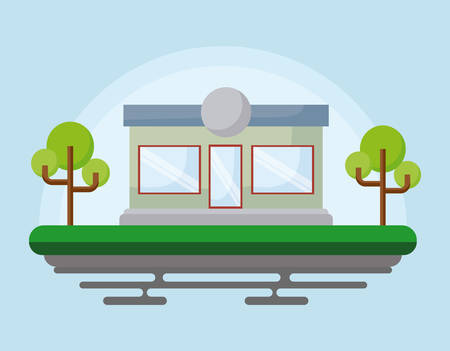 Landscape with store and trees over blue background, colorful design. vector illustration