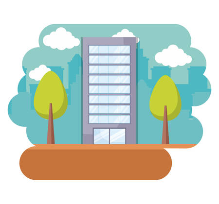 landscape with city building and trees over white background, colorful design. vector illustration