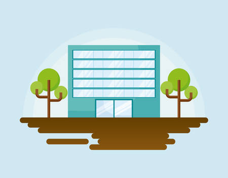 city building and trees over blue background, colorful design. vector illustration