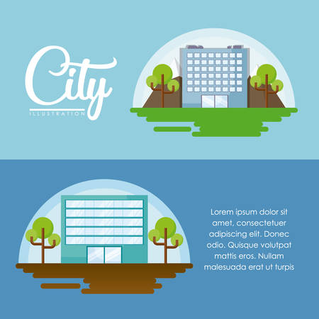 Infographic of city concept with city buildings and trees over blue background, colorful design. vector illustration