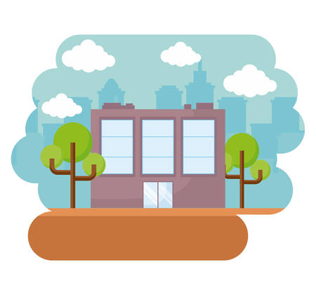 city buildings with trees over white background, colorful design. vector illustration