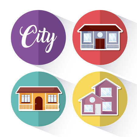 Icon set of modern houses over colorful circles and white background, vector illustration Illustration