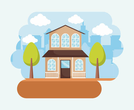 two-floor modern house with trees over blue background, colorful design. vector illustration Illustration