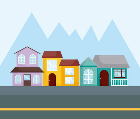 row of modern houses over mountains silhouettes, colorful design. vector illustration 矢量图像
