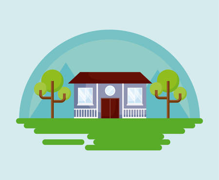 Classic house icon with trees over blue background, colorful design. vector illustration Illustration