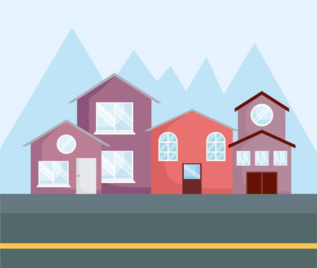 row of houses over mountains silhouettes, colorful design. vector illustration
