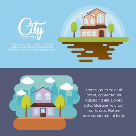 Infographic of city concept  with modern houses over colorful background, vector illustration