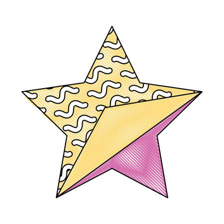 star with memphis style over white background, colorful design. vector illustration Illustration