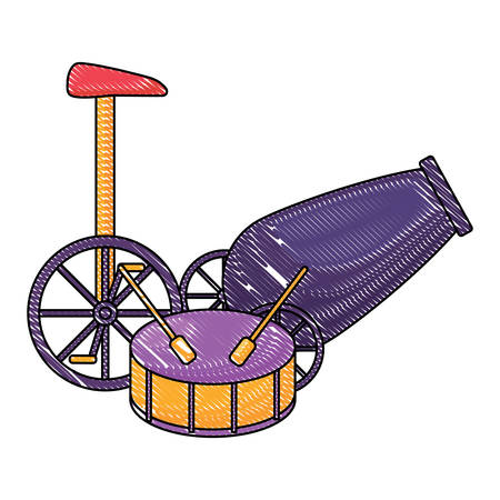 circus carnival design with cannon with drum and mono-cycle over white background, colorful design. vector illustration