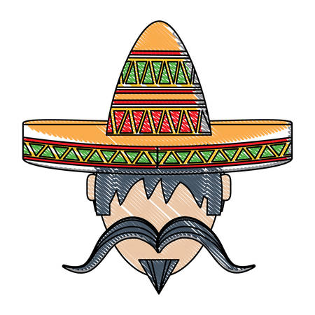 man with mustache and mexican hat icon over white background, vector illustration
