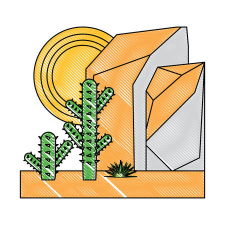 abstract desert landscape with rocky mountains and cactus icon over white background, colorful design. vector illustration