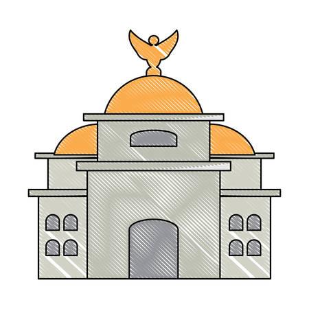 Icono del Palacio de Bellas Artes de México sobre fondo blanco, diseño colorido. ilustración vectorial Ilustración de vector