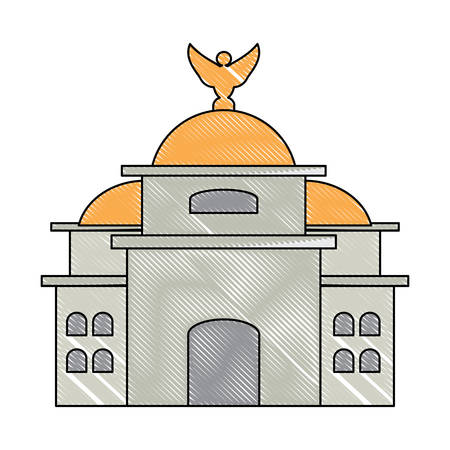 Mexico Palace of Fine Arts  icon over white background, colorful design. vector illustration 矢量图像