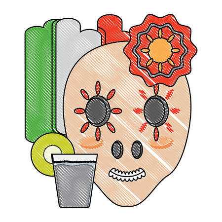 flag of mexico with sugar skull and tequila shot icon over white background, colorful design. vector illustration Vettoriali