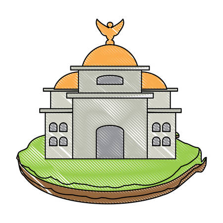 Mexico Palace of Fine Arts icon over white background, colorful design. vector illustration