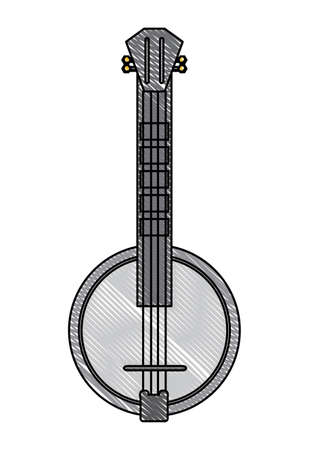 banjo instrument icon over white background, colorful design. vector illustration