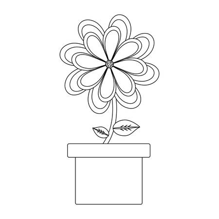 Beautiful flower in a pot over white background, black and white design. Vector illustration Illustration