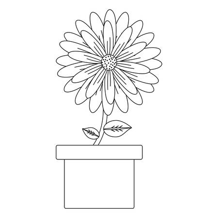 Beautiful flower in a pot over white background, black and white design. Vector illustration 向量圖像