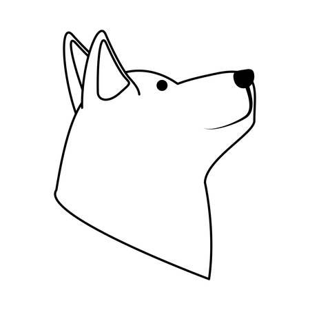 Cute husky dog head icon over white background, vector illustration Illustration