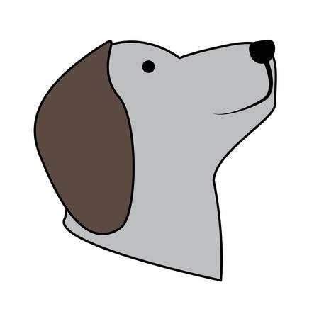 cute dog head icon over white background, colorful design.  vector illustration Vettoriali