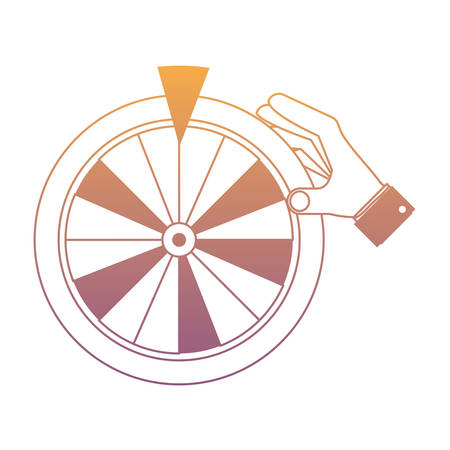 hand with prize wheel of fortune icon over white background, colorful design. vector illustration Illustration