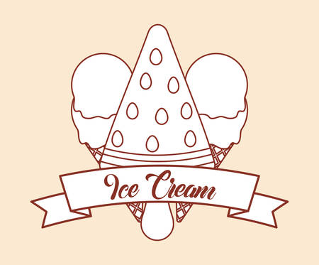 decorative ribbon and frame with ice creams over orange background, colorful design. vector illustration