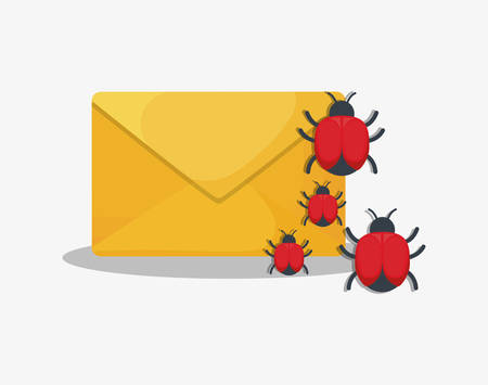 cyber security design with envelope with virus bugs over white background, colorful design. vector illustration