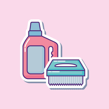 cleaning supplies design with detergent bottle and scrub brush over pink background, colorful design. vector illustration