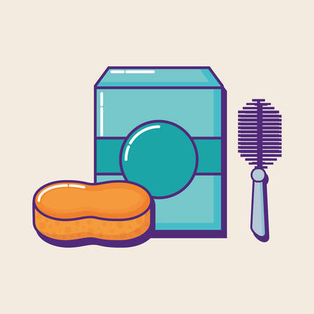 soap box and sponge over white background, colorful design. vector illustration Vectores