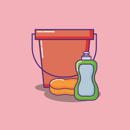 bucket and Liquid Dish Soap bottle over  red background, colorful design. vector illustration