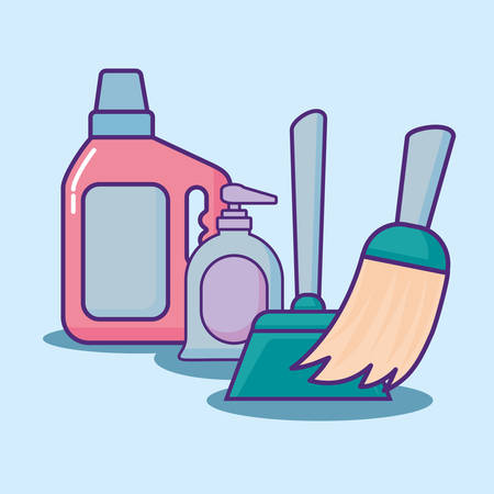 cleaning supplies design with detergent bottle and related icons over blue background, colorful design. vector illustration  Illustration