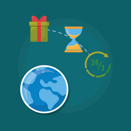 earth planet and shopping online related icons over blue background, colorful design. vector illustration Illustration