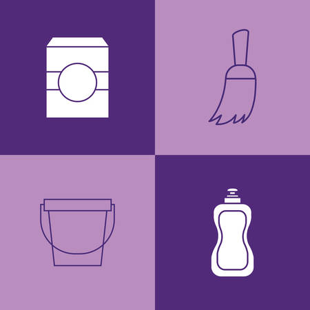icon set of house cleaning concept over purple squares, colorful design. vector illustration