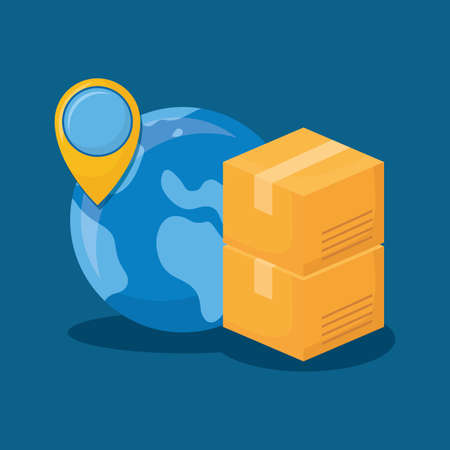 earth planet and carton boxes  over blue background, colorful design. vector illustration