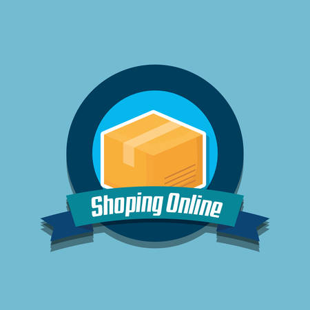 emblem of Shopping online concept with carton box over blue background, vector illustration