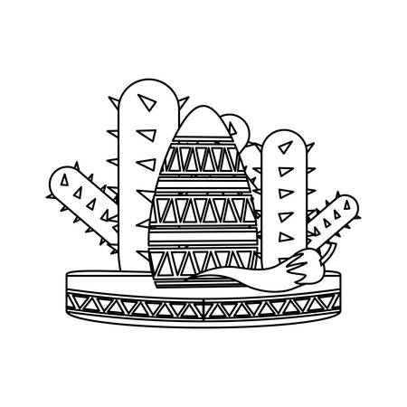 Cactus with mexican hat icon over white background, vector illustration Illustration