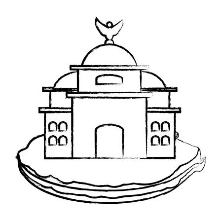 sketch of Mexico Palace of Fine Arts icon over white. Illustration