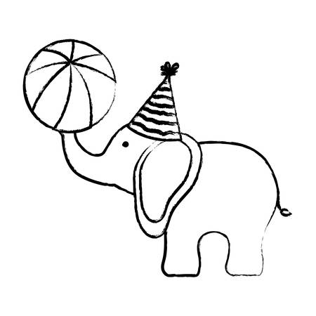 sketch of Cartoon Circus elephant playing a ball over white background, vector illustration Иллюстрация