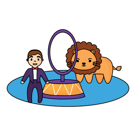 circus show with lion and ringmaster over white background, colorful design. vector illustration