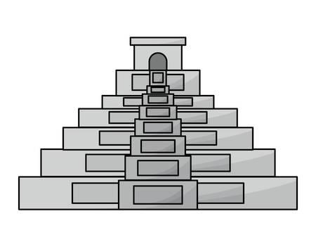 mexican pyramid icon over white background, colorful design. vector illustration Ilustração