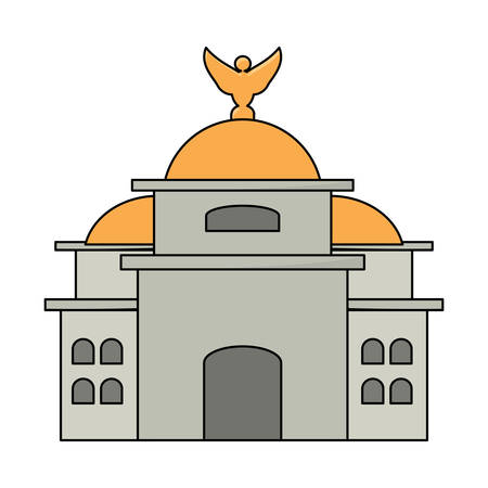 Mexico Palace of Fine Arts icon over white background, colorful design. vector illustration Çizim