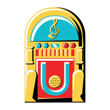 Retro rockola icon over white background, colorful design. Ilustração