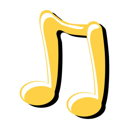 Musical note icon over white background, colorful design. Illustration