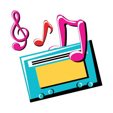 musical notes and cassette icon over white background, colorful design. vector illustration