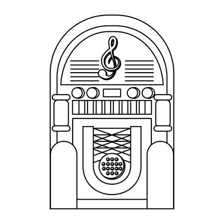 retro rockola icon over white background, vector illustration Vectores