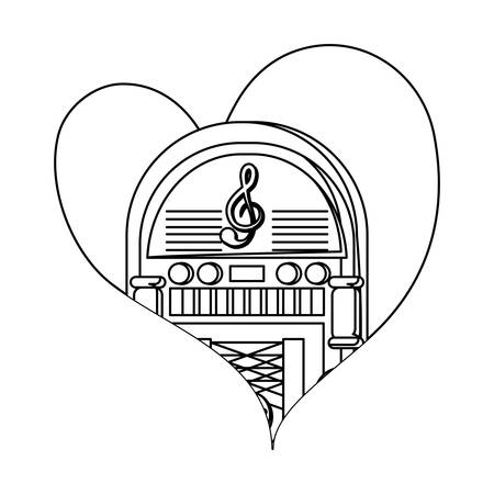 heart with retro rockola icon over white background, vector illustration