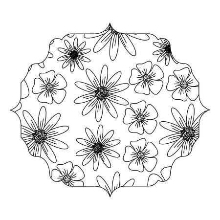 frame with arabic style and floral design over white background, black and white design. vector illustration