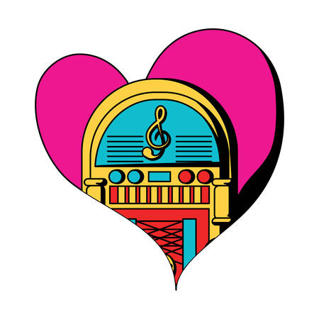 heart with retro rockola icon over white background, colorful design. vector illustration