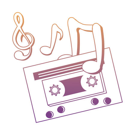 musical notes and cassette icon over white background, colorful design. vector illustration Imagens - 100176827