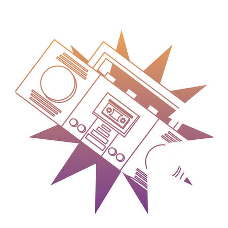burst with boombox stereo icon over white background, colorful design. vector illustration